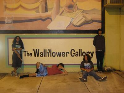 Outside The Wallflower Gallery before their show.