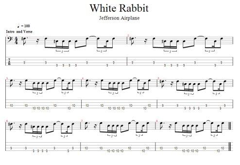 Guitar bass guitar tablature : White Rabbit Free Bass Tab