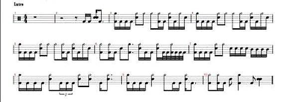 image regarding Free Printable Drum Sheet Music titled Drum Tabs Approximately No cost