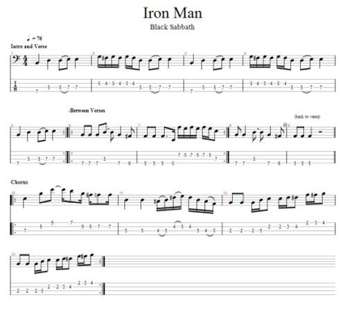 iron man free bass tab. Black Bedroom Furniture Sets. Home Design Ideas