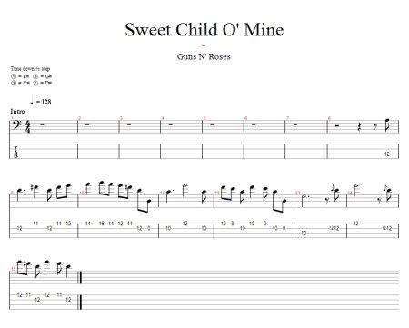 Sweet Child Of Mine Free Bass Tab