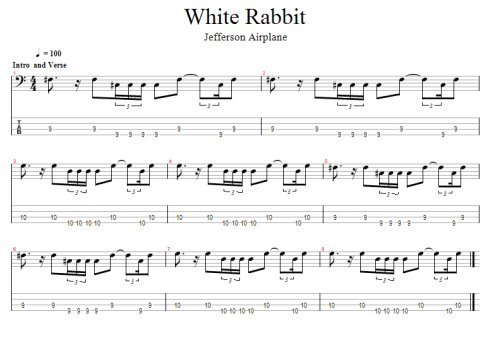 white rabbit bass tab